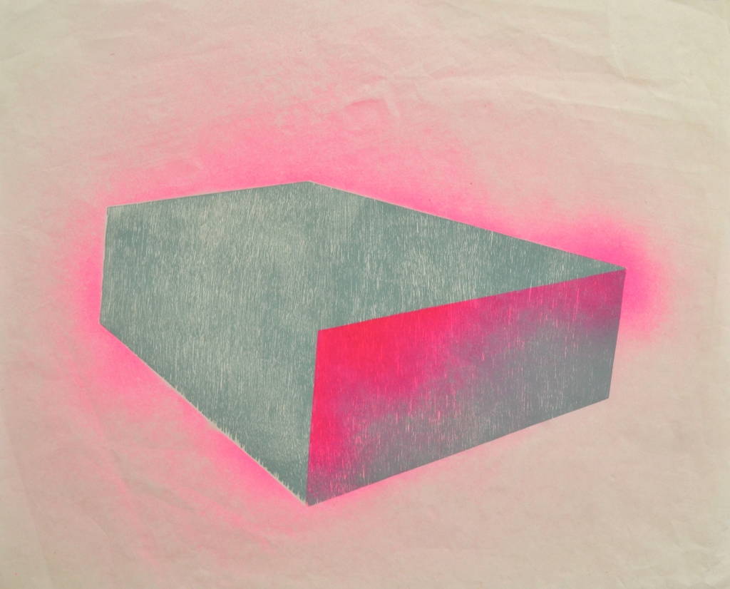 Pink Box, woodblock relief and spraypaint