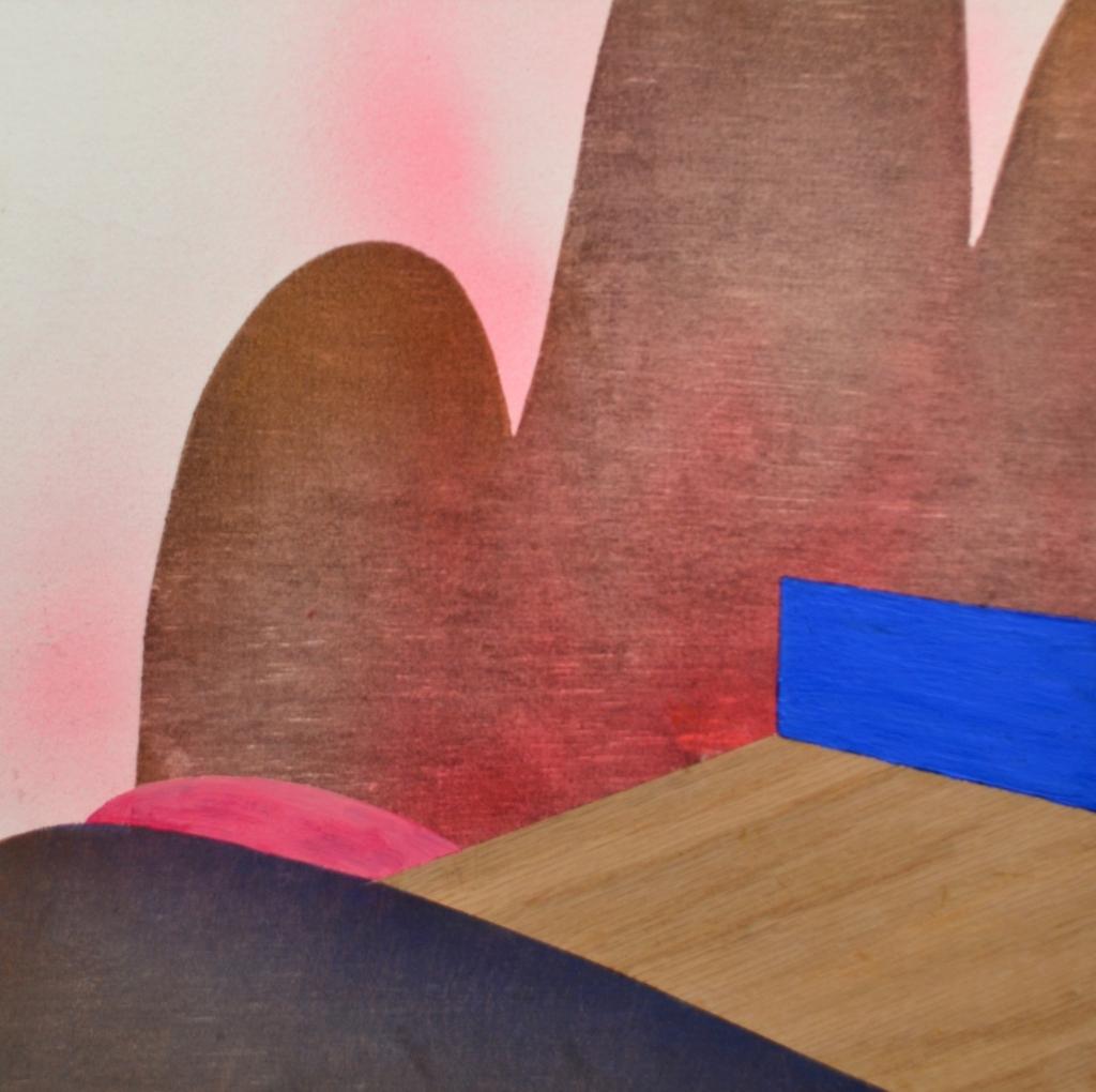 """Dawn Curve, 12""""x12"""", woodblock relief, paint, wood veneer"""