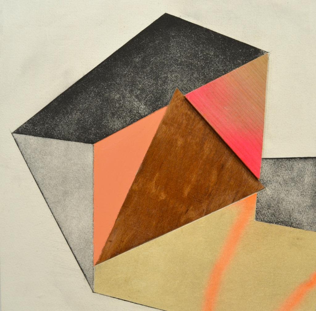 "Salvo, 12""x12"", etching, collage, paint, wood veneer, plywood, on wood panel"