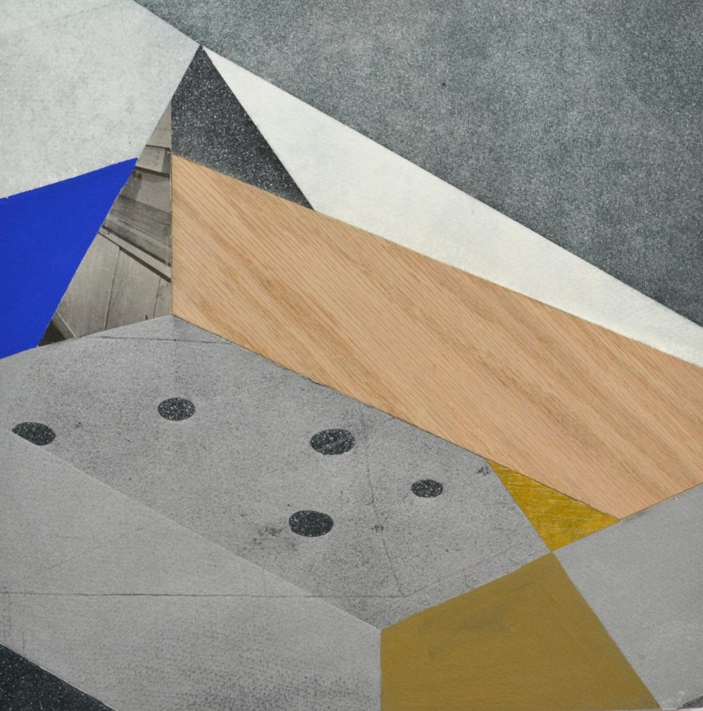 """Sieve, 12""""x12"""", etching, collage, paint, wood veneer on wood panel"""