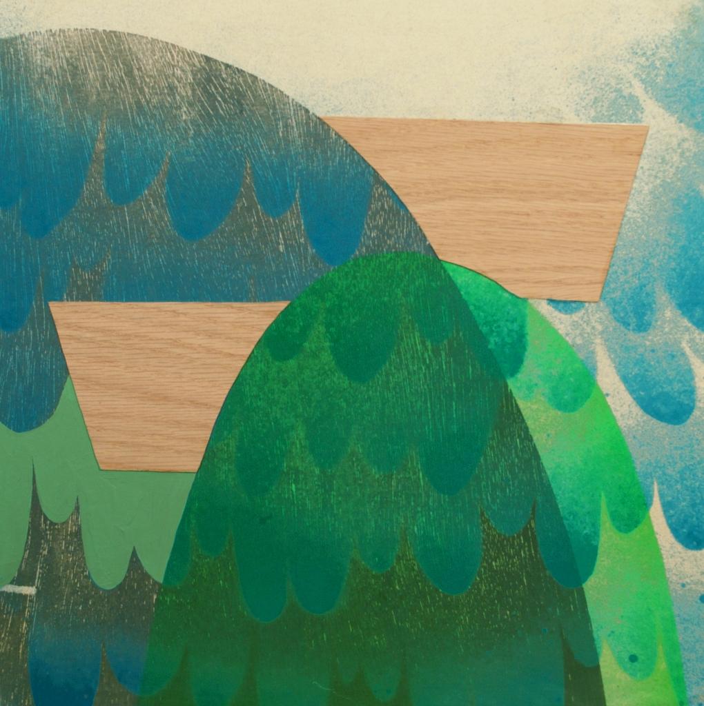 """Sward, 12""""x12"""", woodblock relief, silk screen, paint, and wood veneer on wood panel"""